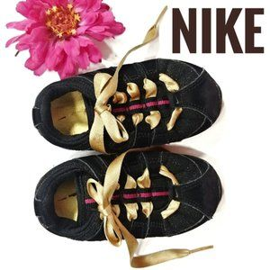 Nike Baby Black Gold Pink Lace Up Sneakers 5C